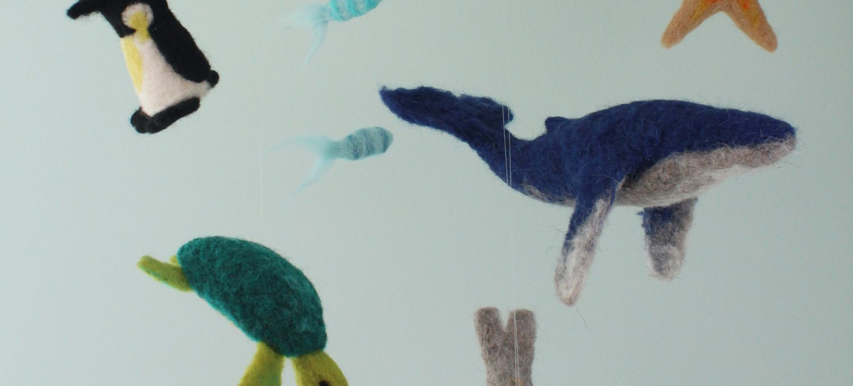 Nadelfilzen: selbstgemachtes Meeres-Mobile