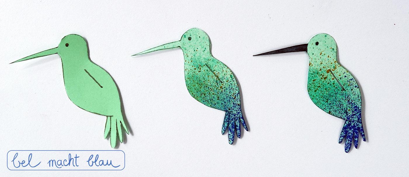 Kolibri auschneiden und bemalen