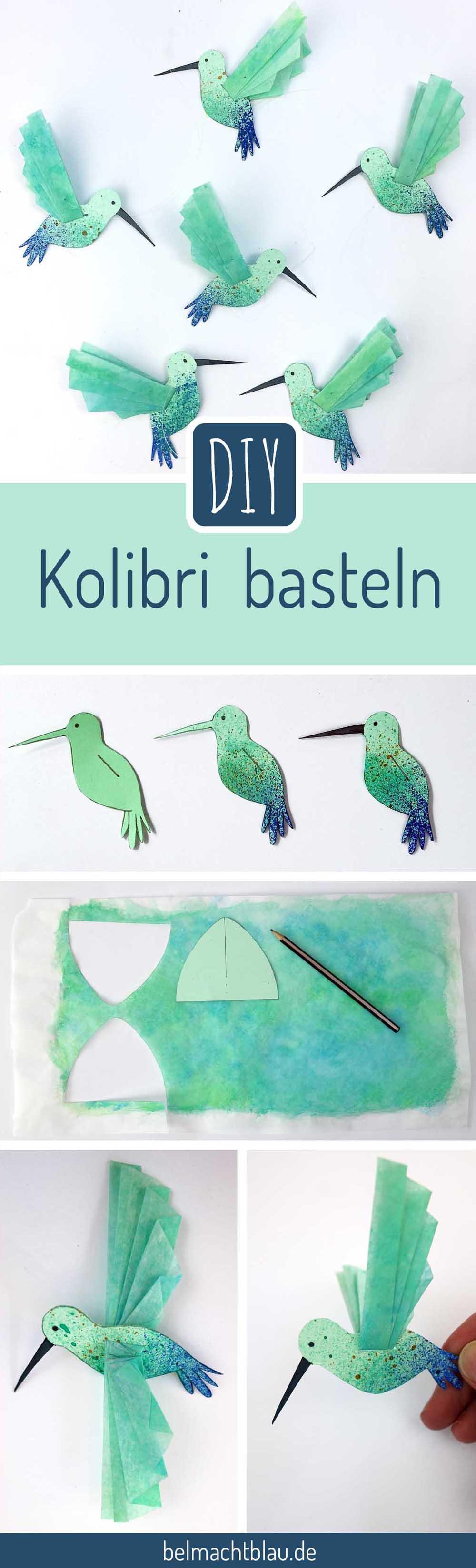 DIY Kolibri basteln - Freebie mit Anleitung // hummingbird printable