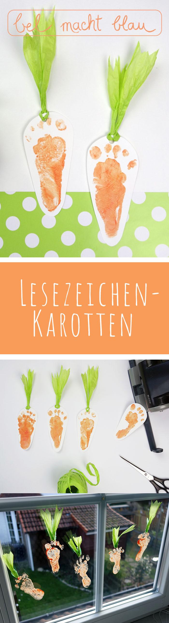 Füßchendruck: Lesezeichen-Karotten // Baby-Fußabdruck // Baby-Footprint carrots // Happy Easter!