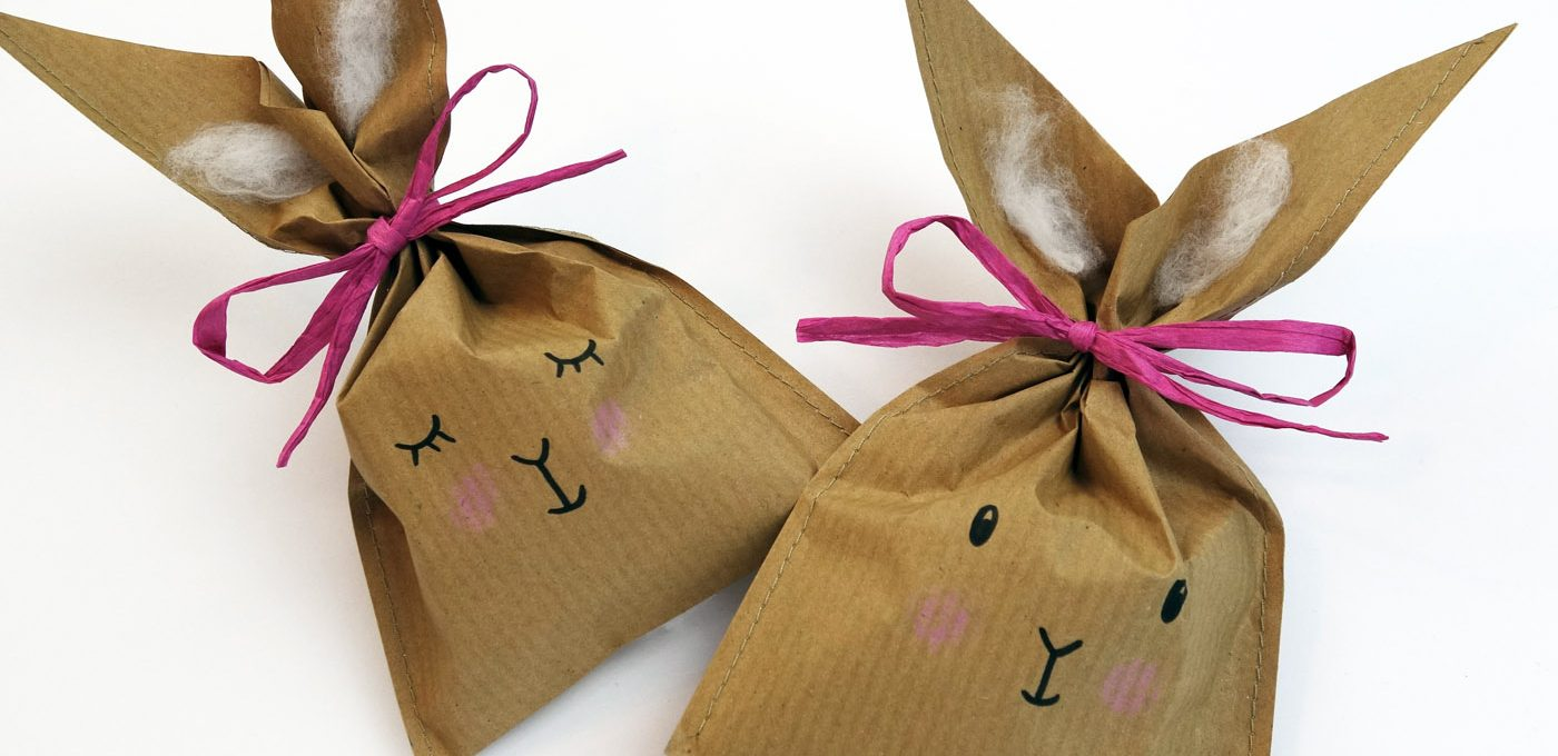 Bastelanleitung für süße Häschen-Tüten aus Packpapier