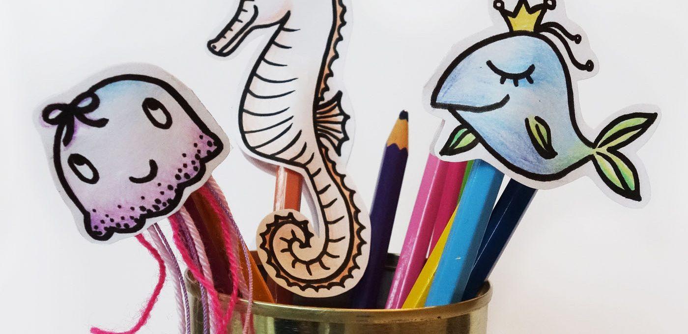 Bastelanleitung für Fingerpuppen: Qualle, Seepferdchen und Fisch