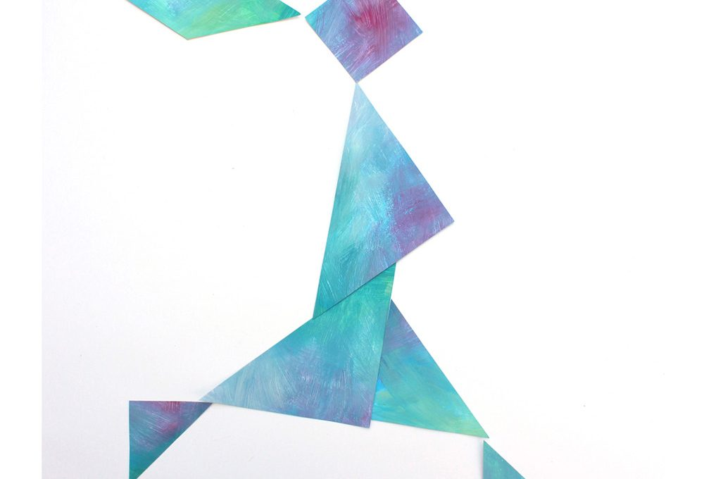 Tangram-Kunst: eine Serie von verschiedenen Menschen wirkt besonders gut.