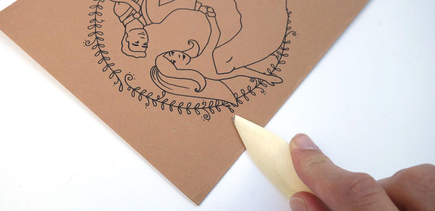 Hochzeitskarte falten und zuschneiden