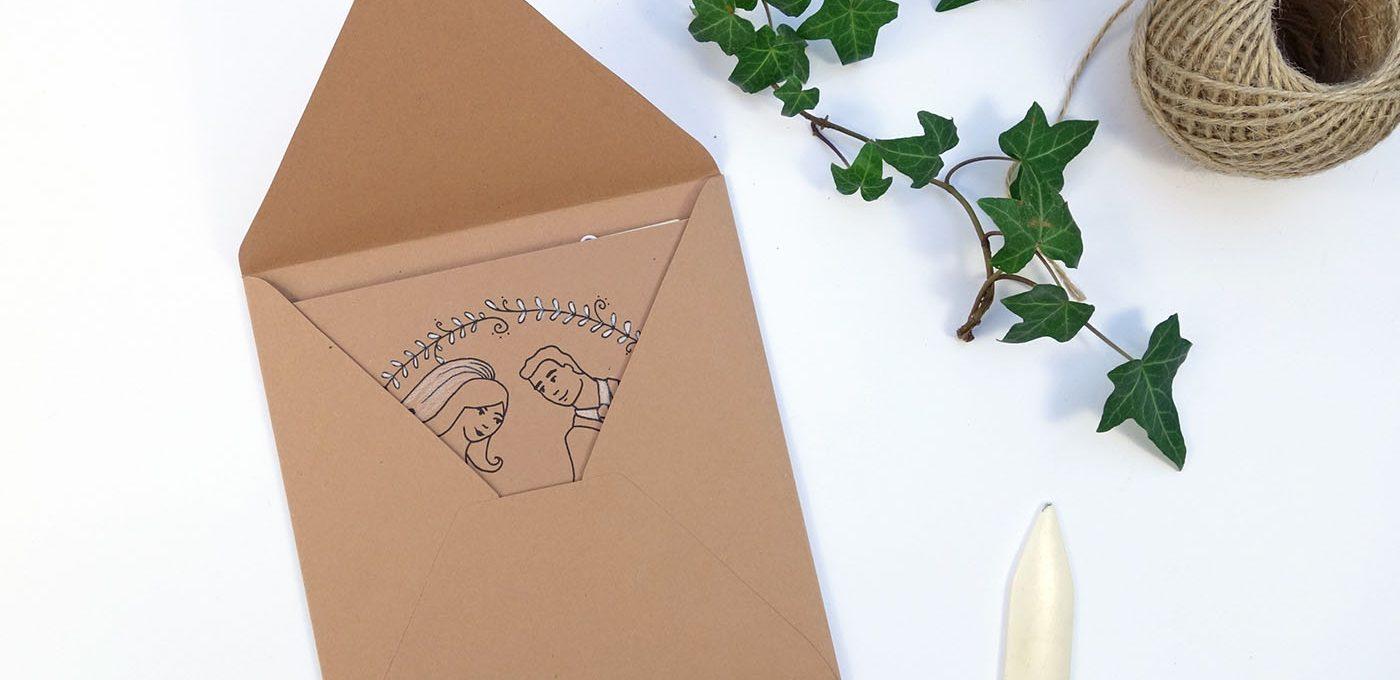 Hochzeitskarte mit passendem Umschlag basteln