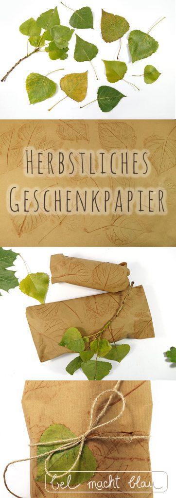DIY - Herbstliches Geschenkpapier mit Blätterprint - kinderleicht!