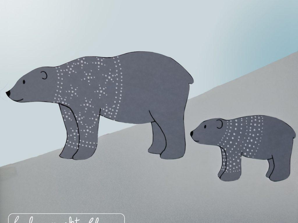 Eisbärenfamilie - Prickeln und basteln mit Kindern