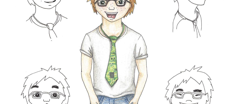 """Computer-Genie """"Anton"""" (Characterdesign) - Illustration von Isabel Dehmel"""