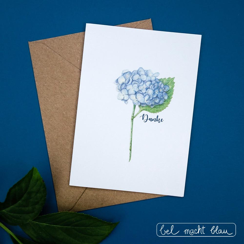 Dankes-Karte mit blauer Hortensie - Hochzeitspapeterie // Familienhochzeit // Illustration