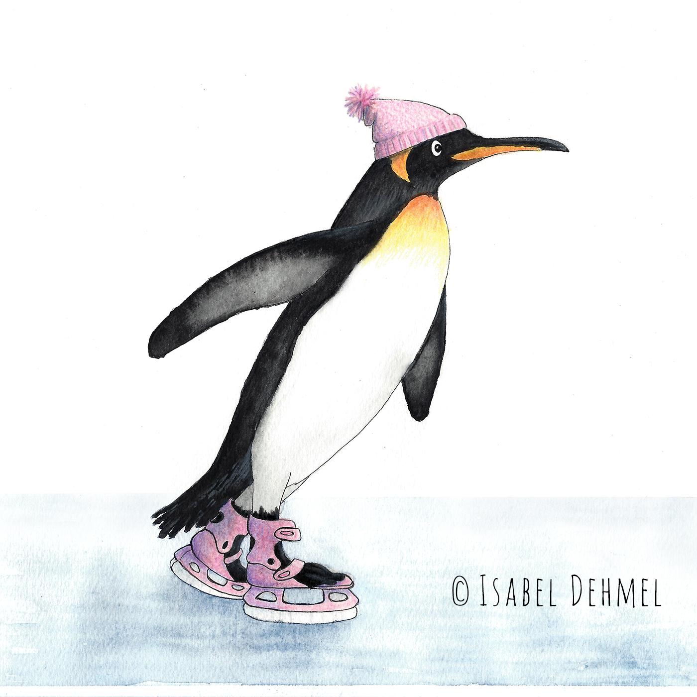 Der Schlittschuh fahrende Pinguin - Illustration von Isabel Dehmel