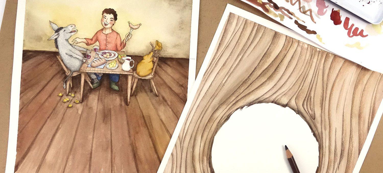 Buchcover in Arbeit - Illustrationen von Isabel Dehmel