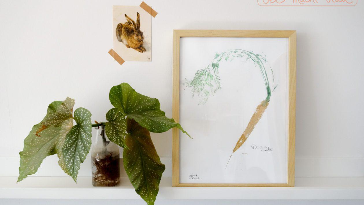 frühlingshafte DIY-Idee: Karotten-Kunst im Vintagelook - einfach selbstgemacht! Frühlingsdeko / Osterdeko / Karottendruck (carrot print)