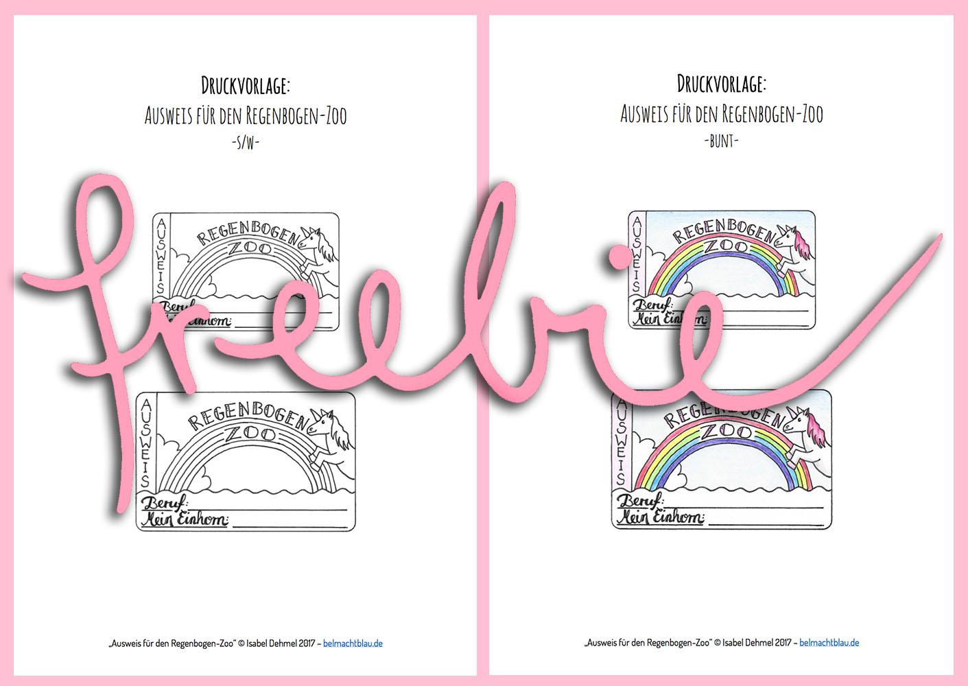 Kostenloses Freebie für Einhorn-Fans: Kinderausweis für den Regenbogen-Zoo // gleich ausdrucken und anmalen