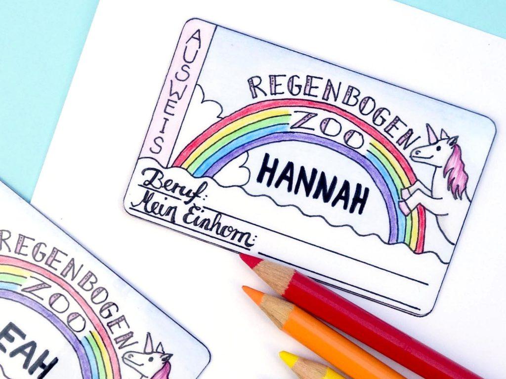 Einhorn-Freebie: Kinderausweis zum Ausdrucken // Regenbogen-Zoo // Spiel-Ausweis selber anmalen