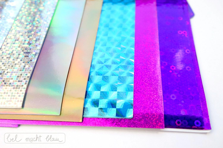 selbstklebende Glitzerfolie in allen Farben des Regenbogens