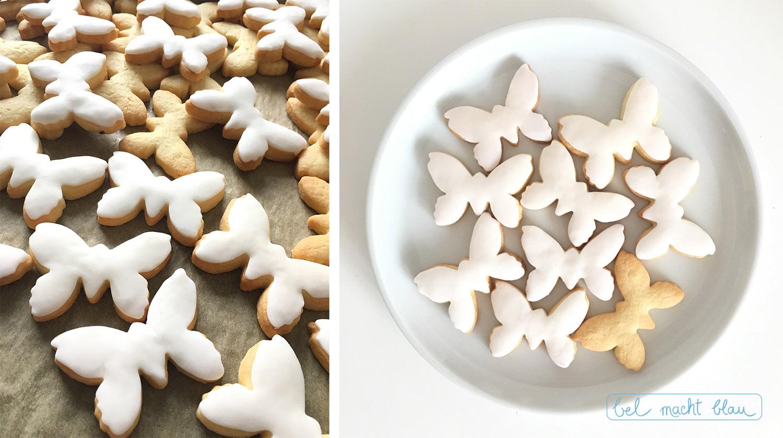 Schmetterlingskekse mit weißem Fondant // Kekse verzieren // Backen und Malen mit Kindern // DIY-Idee für Große und Kleine