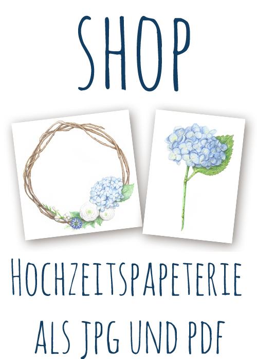 """Hochzeitspapeterie: """"Hortensienkranz"""" und """"Blaue Hortensie"""" // Datei kaufen als jpg und pdf"""