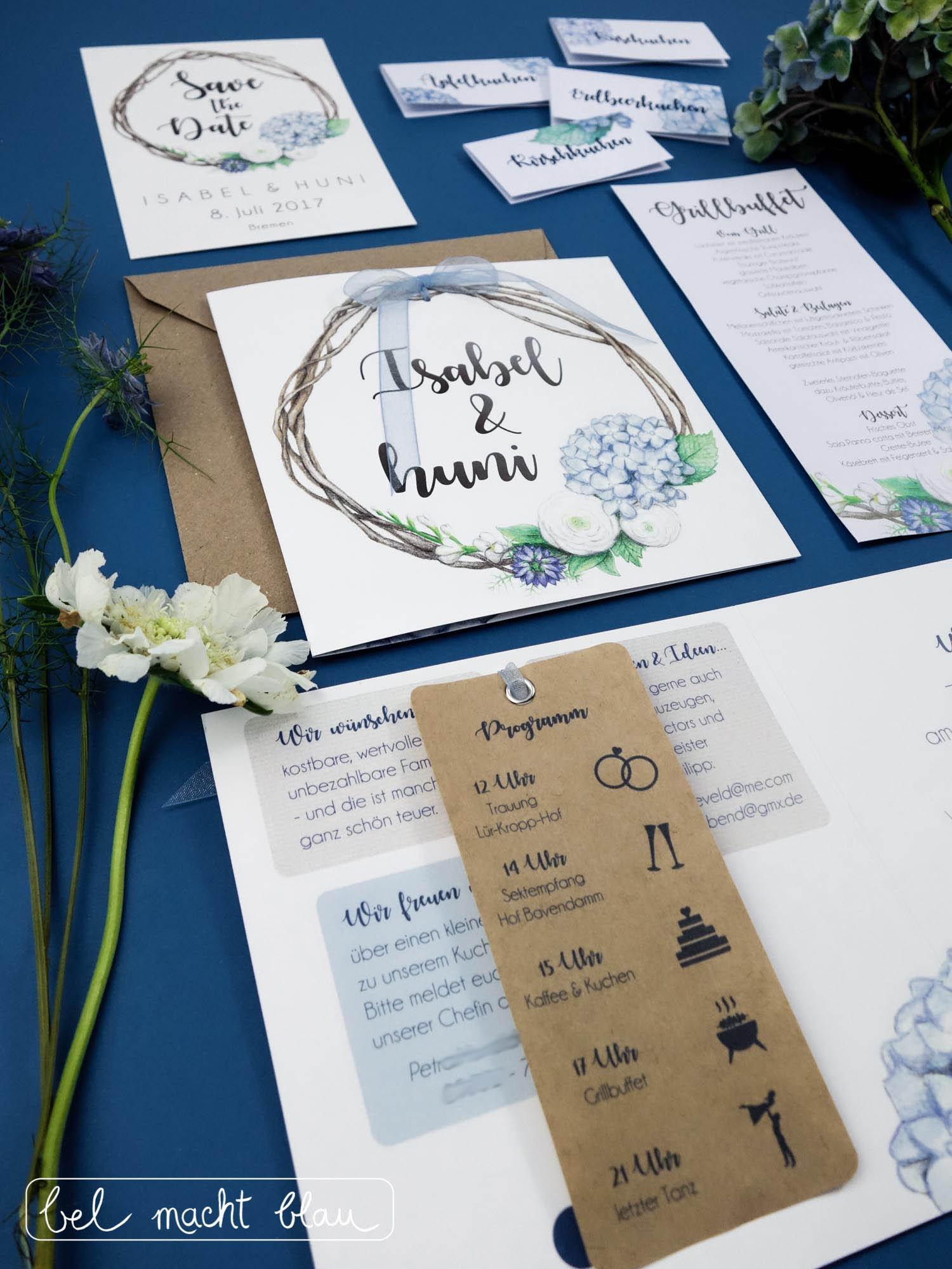 Hortensien-Hochzeitspapeterie für unsere Familienhochzeit im Sommer // Illustrationen von Isabel Dehmel // wedding invitation // blue hydrangea