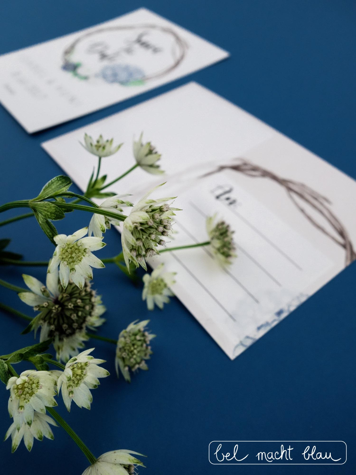 Save-the-Date-Karte // Hortensien-Hochzeitspapeterie für unsere Familienhochzeit // Illustrationen von Isabel Dehmel // wedding // blue hydrangea