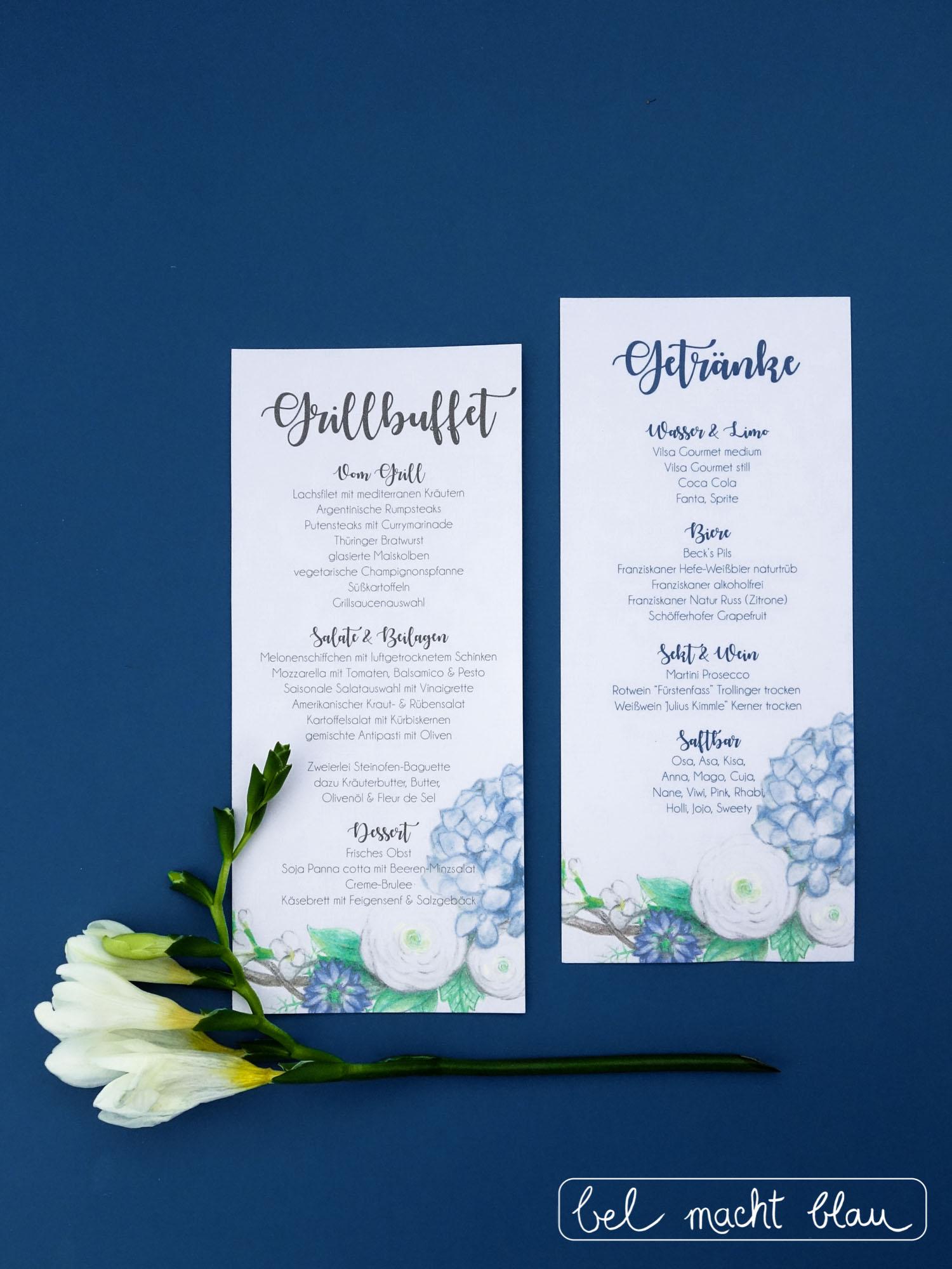 Buffetkarten mit blauen Hortensien // Getränkekarte für die Hochzeit // Hochzeitspapeterie für unsere Familienhochzeit im Sommer // blue hydrangea // wedding buffet