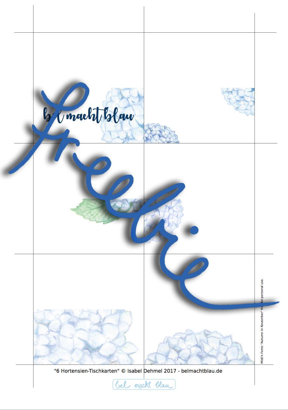 Hortensien-Tischkarten, Namenskarten, Buffetschilder // kostenloses Freebie // Printable // Hochzeits-Papeterie