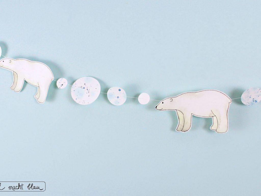 DIY Eisbär-Girlande: Videoanleitung, Aquarelltechnik, Kinderzimmerdeko