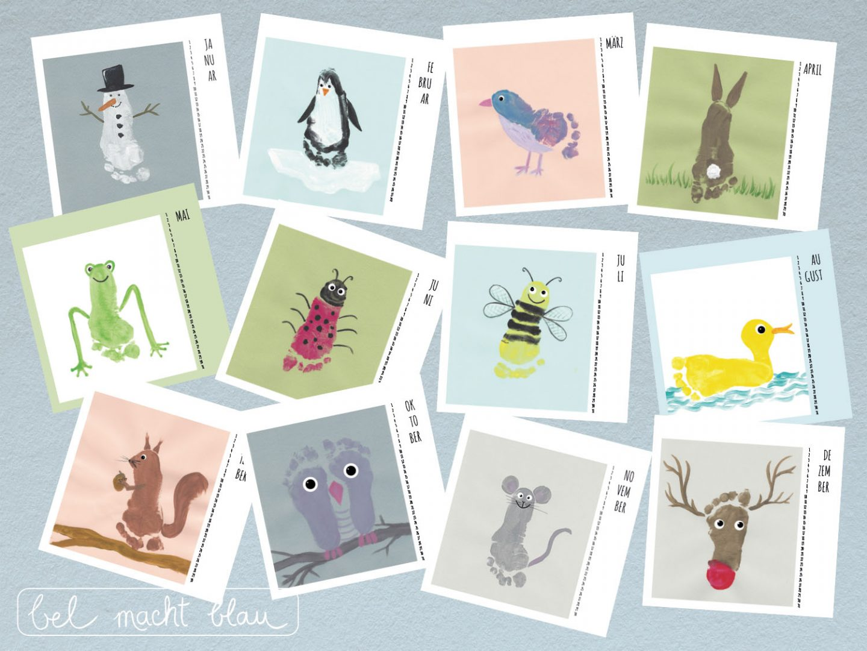 Kalender mit Fußabdrücken - 12 tolle Ideen