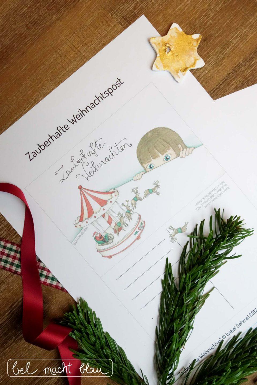Freebie für eine zauberhafte Weihnachtskarte und Geschenkanhänger - Illustration Isabel Dehmel