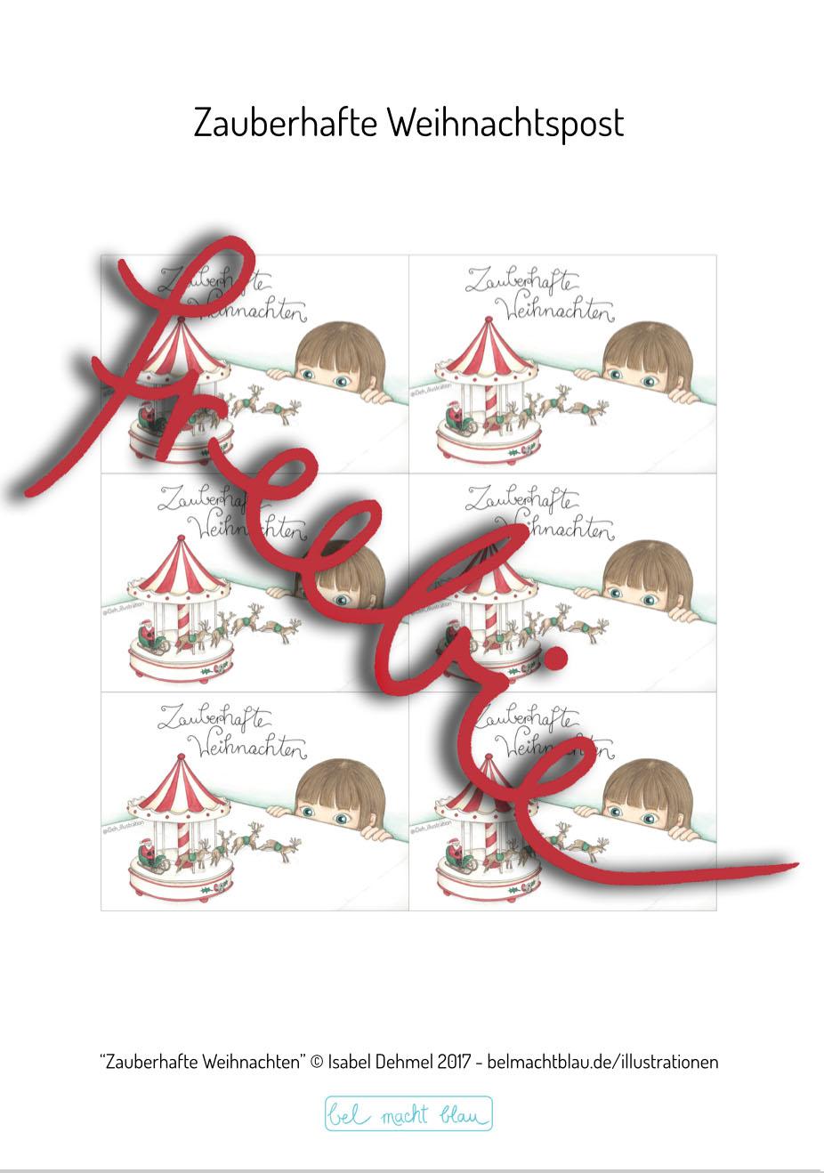 Freebie für eine zauberhafte Weihnachtskarte - Klick zum Download