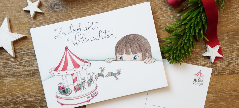 Weihnachtskarten-Illustration zum Ausdrucken, Verschicken und Verschenken - auch als Geschenkanhänger // Freebie // Printable