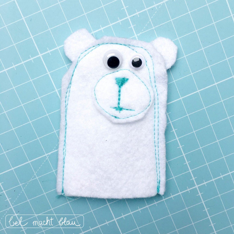 Eisbären-Fingerpuppe aus Filz - Ideen für einen Eisbären-Geburtstag