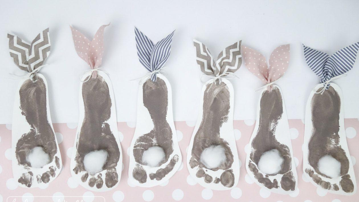 DIY-Anleitung: Hasen-Fußabdrücke // Basteln mit Babys und Kindern zu Ostern