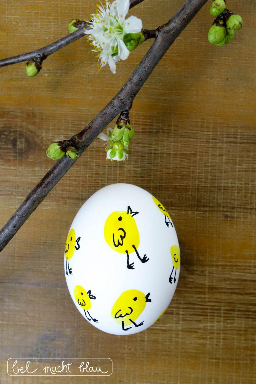 Fingerabdruck-Ostereier - Ostereier mit Fingerabdrücken verzieren - niedliche Osterküken - Malen mit Kindern