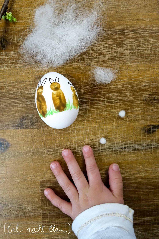 Fingerabdruck-Ostereier - Ostereier mit Fingerabdrücken verzieren - niedliche Osterhasen - Malen mit Kindern