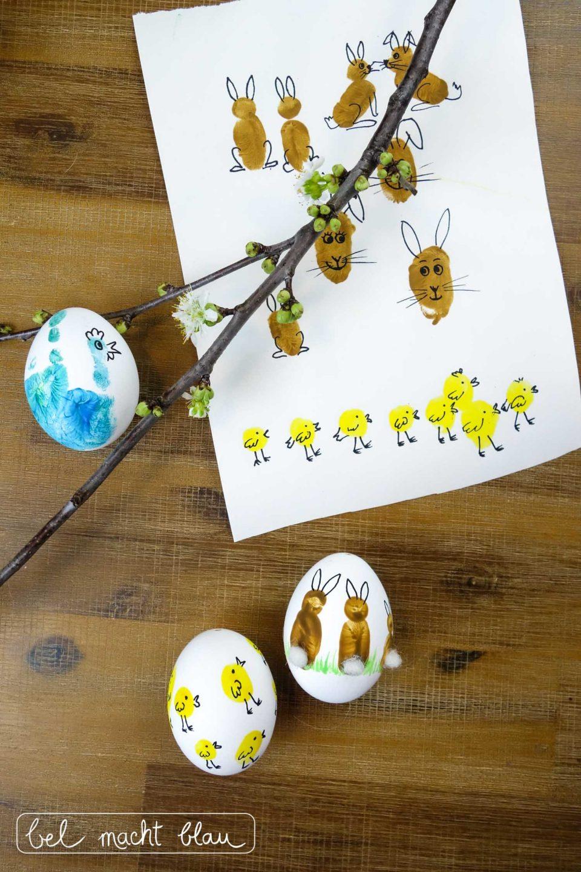 Fingerabdruck-Ostereier - Ostereier mit Fingerabdrücken verzieren - Malen mit Kindern