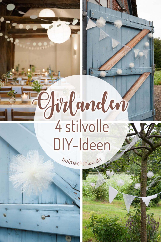 Girlanden selbermachen - vier tolle DIY-Ideen für Hochzeitsgirlanden - Wimpelkette, Pompomgirlande, Kreisgirlande, Bänder