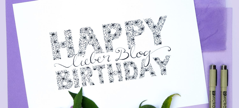 bel macht blau wird 3 - Bloggeburtstag - Happy Birthday Handlettering