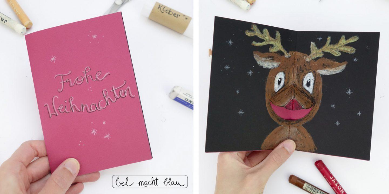 Tierische Pop-up Karte / Weihnachtskarte basteln / DIY-Idee für Kinder / Bastelanleitung Rentier