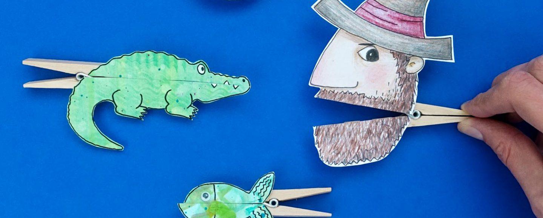 Klammerfiguren basteln: Krokodil, Räuber, Fische - Druckvorlage und Tischsprüche