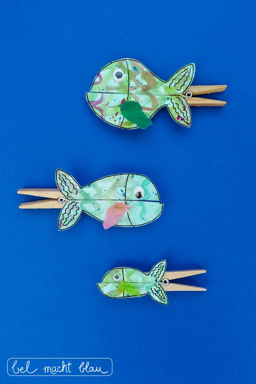 """Klammerfiguren basteln: Fische passend zum Tischspruch """"Viele kleine Fische"""""""