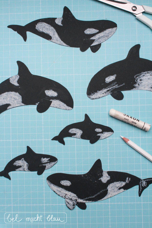 Orca-Girlande fürs Babyzimmer - Anleitung und Bastelvorlage
