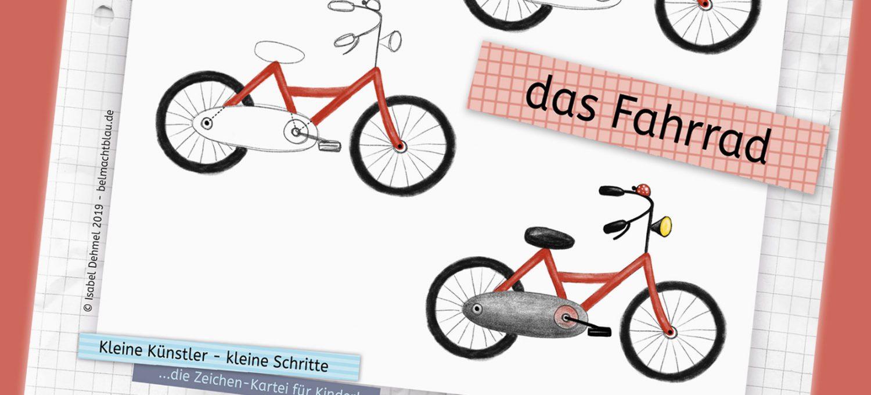 """Zeichen-Kartei: ein Fahrrad zeichnen - """"Kleine Künstler - kleine Schritte"""""""